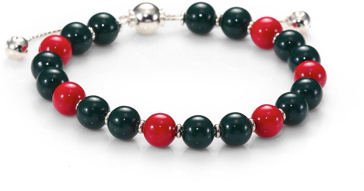 3e0255418 Gucci Britt Wood & Sterling Silver Beaded Bracelet - Lyst