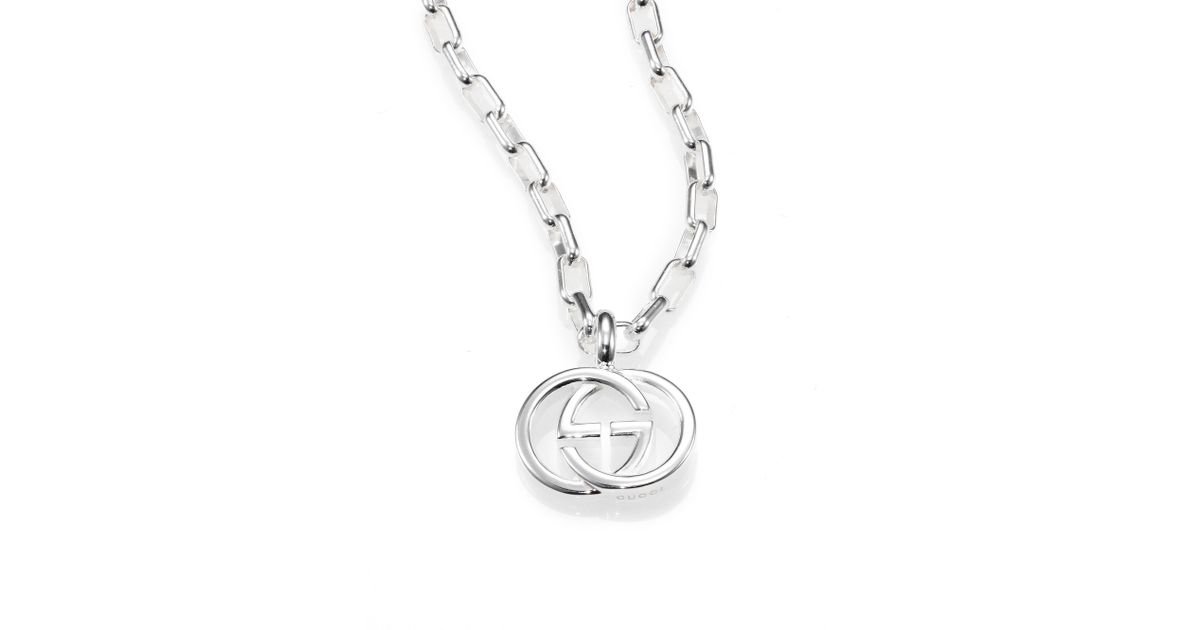 89a849039 Gucci Sterling Silver Interlocking Gg Pendant Necklace in Metallic - Lyst
