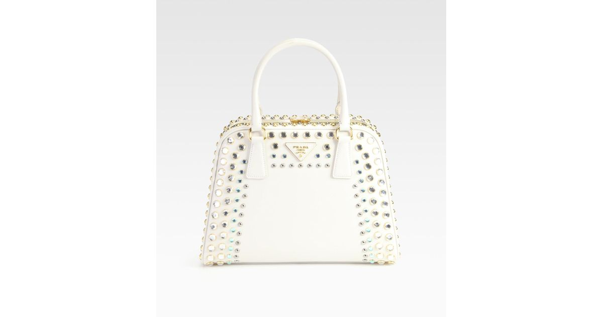 10e07ceb64f2 Lyst - Prada Saffiano Vernice Embellished Frame Pyramid Top Handle Bag in  Natural