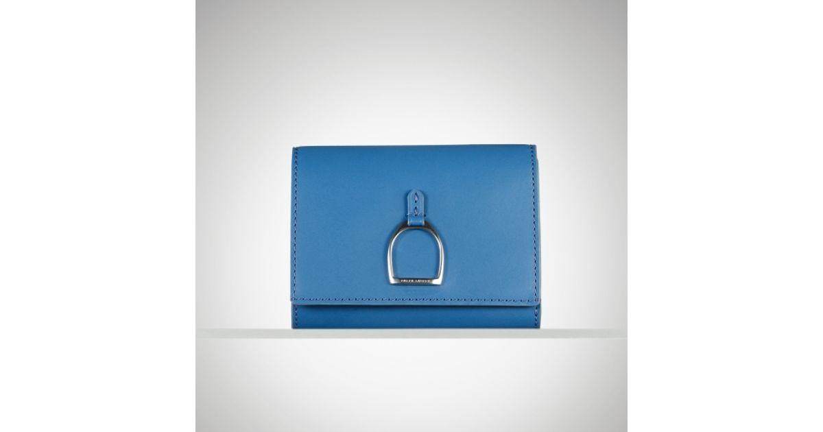 Lyst - Ralph Lauren Vachetta Stirrup French Wallet in Blue 9410f0141b496