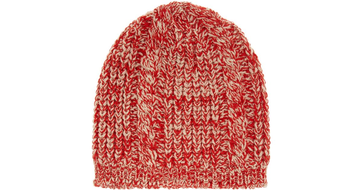 03d5f1ce023 Isabel Marant Dustin Cable-knit Wool Beanie Hat in Red - Lyst