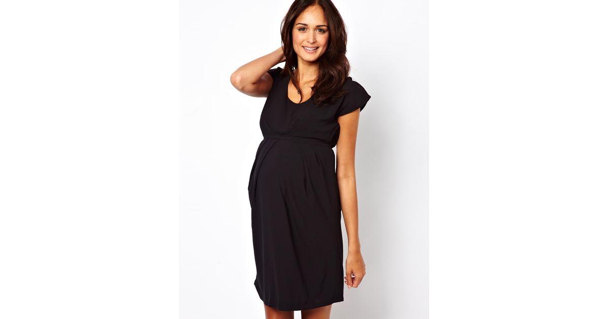 b2390c6071fb Gossard Mamalicious Smart Pleat Front Dress in Black - Lyst