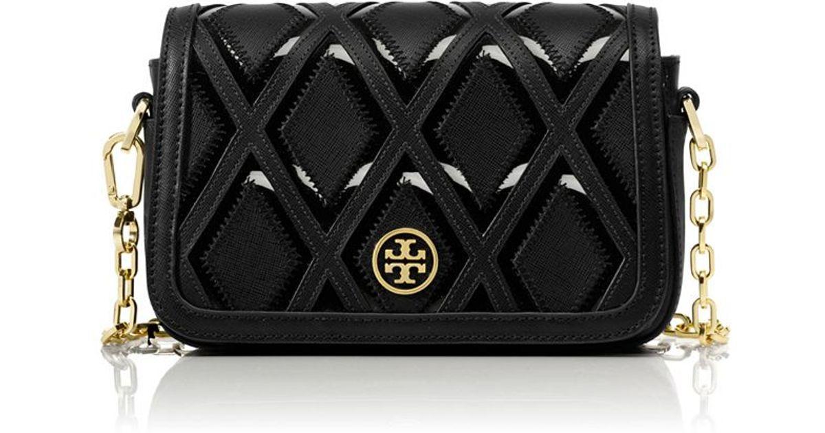 d822bef3527 ... release date tory burch robinson patchwork chain mini bag in black lyst  f6ba5 d91b7