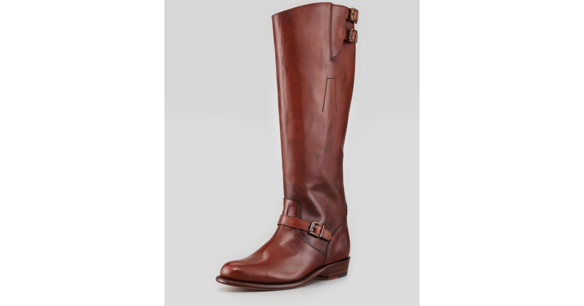 6d89380b33b0 Lyst - Frye Dorado Buckled Leather Riding Boot Whiskey in Brown