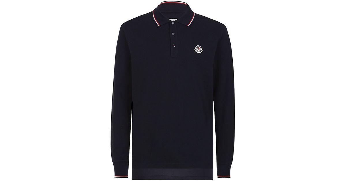 auf Füßen Aufnahmen von guter Verkauf Super süße Moncler Blue Long Sleeve Polo Shirt for men
