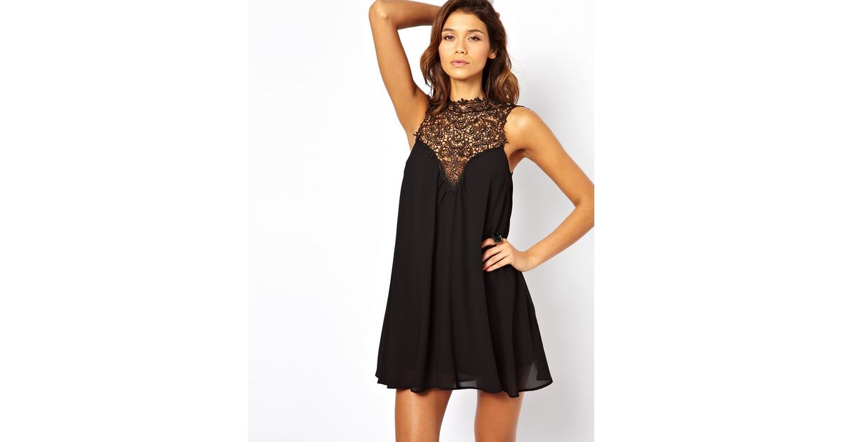 Tfnc swing dress with lace high neck black