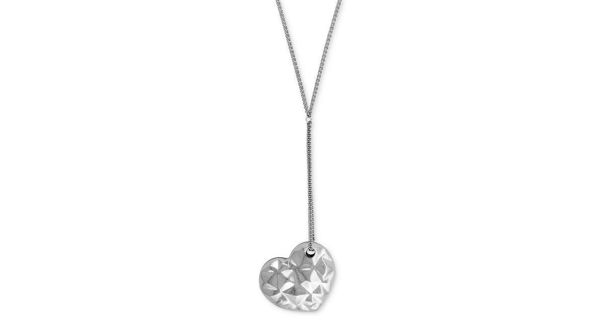 Bcbgeneration silvertone puffy heart pendant necklace in metallic lyst aloadofball Gallery