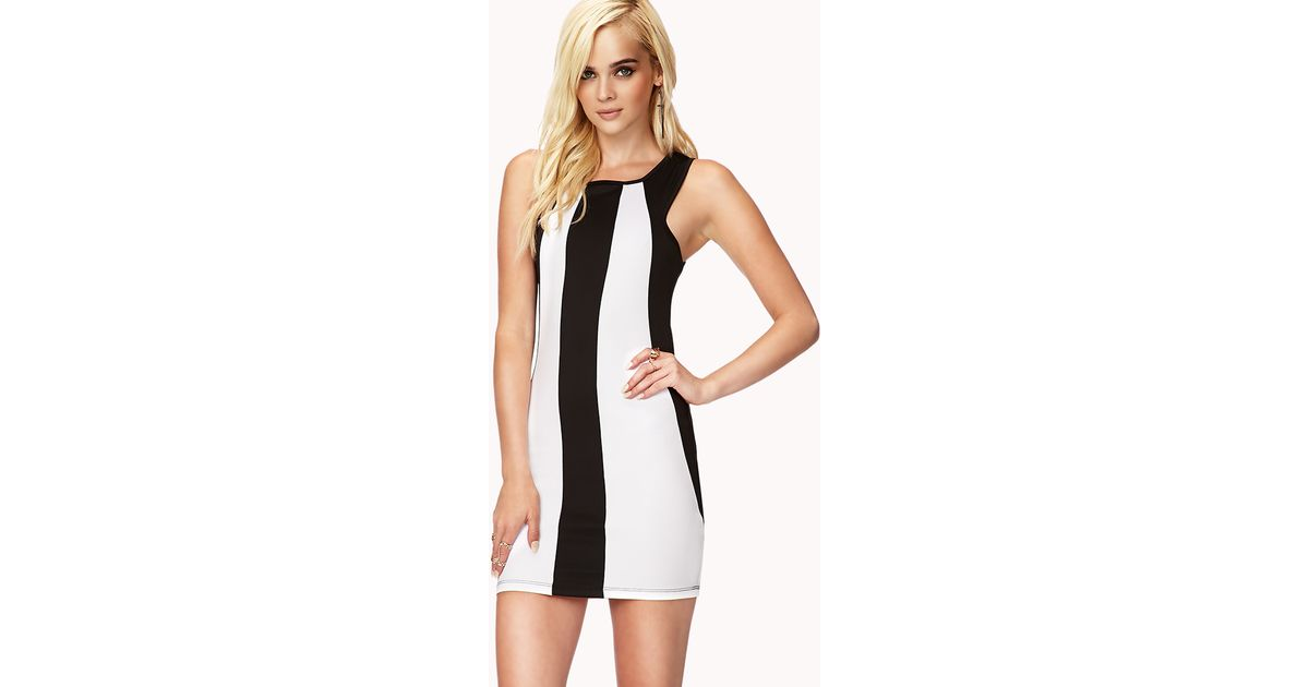 b9bafce57850 Lyst - Forever 21 Colorblocked Racer Front Dress in White
