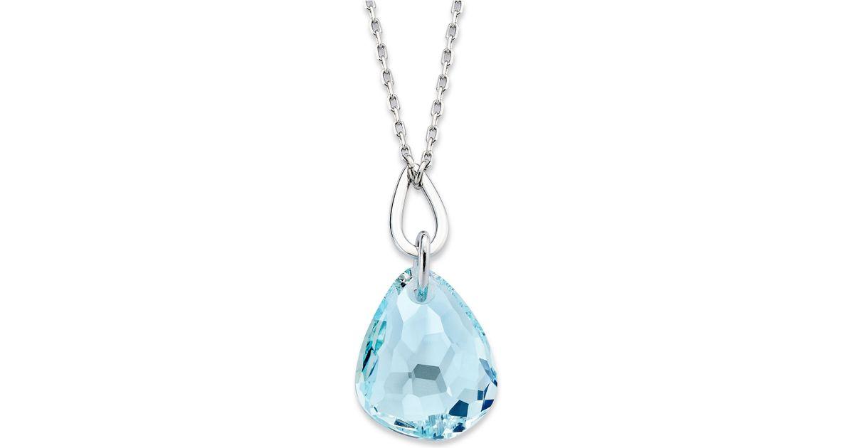 ed7fb2f35 Lyst - Swarovski Rhodium Plated Light Azore Crystal Pendant Necklace in Blue