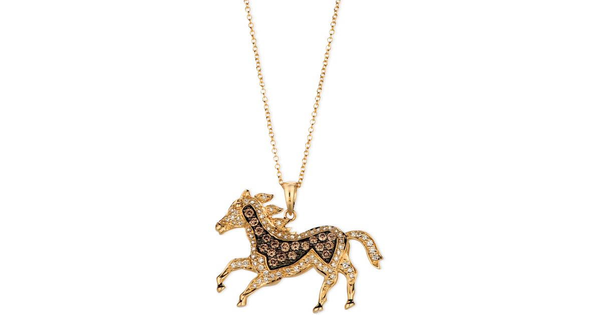 Chocolate diamond horse pendant thin blog le vian chocolate diamond 13 ct tw and white horse pendant in metallic lyst aloadofball Image collections
