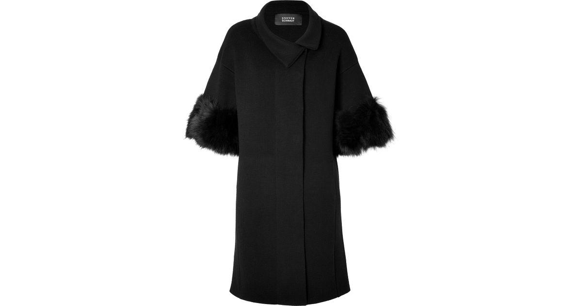 28838ae239d3 Steffen Schraut Knit Cardigan Coat with Fur Cuffs in Black in Black ...