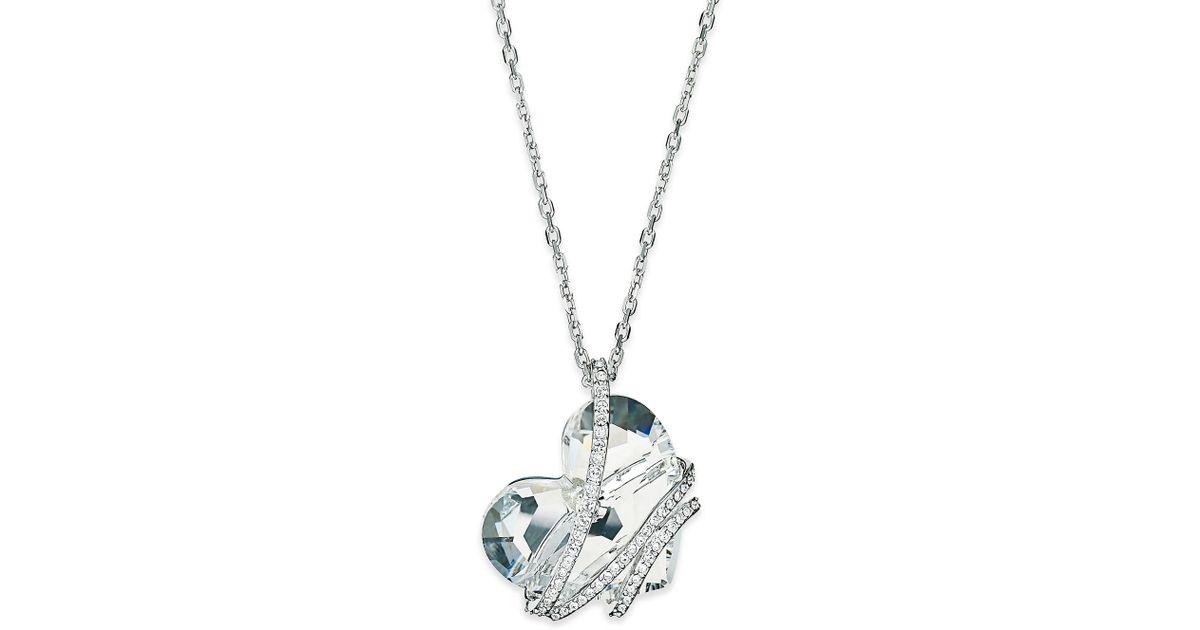 Lyst swarovski silver tone crystal heart pendant necklace in metallic aloadofball Images