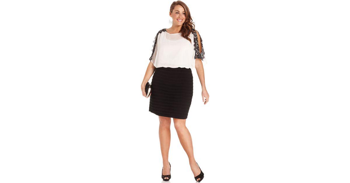 Lyst Xscape Xscape Plus Size Dress Dolmansleeve Lacetrim Blouson
