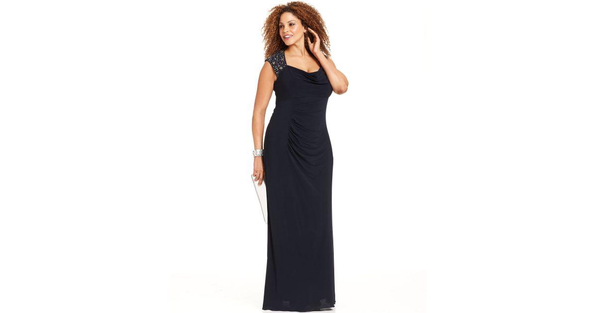 Lyst - Xscape Xscape Plus Size Dress Capsleeve Beaded cutout Gown in ...