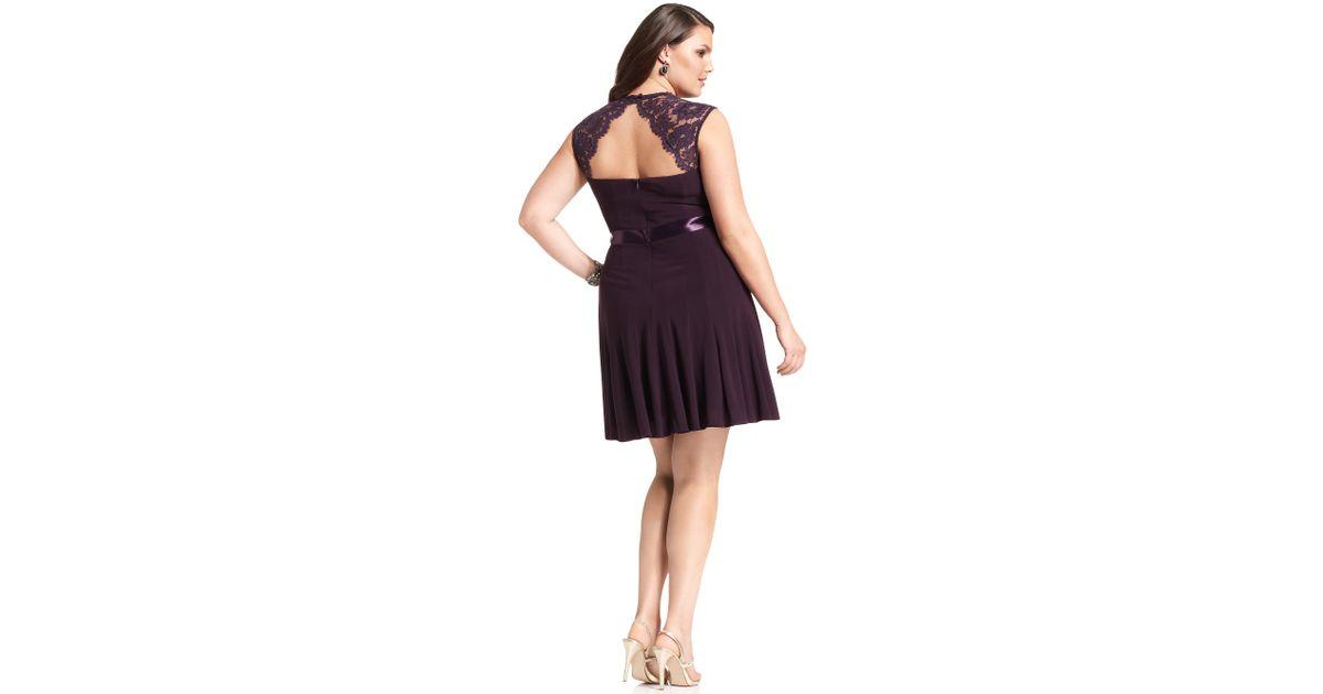 Lyst Xscape Xscape Plus Size Dress Cap Sleeve Lace Seamed In Purple