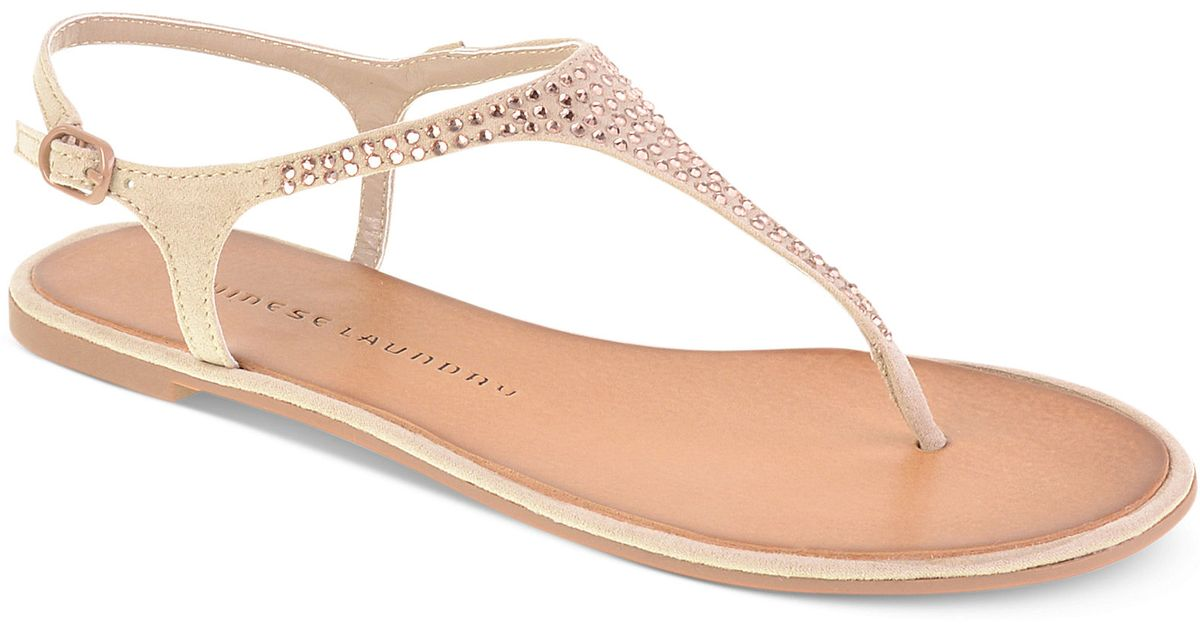 Chinese Laundry Game Show Flat Thong Sandals In Natural  Lyst-6403