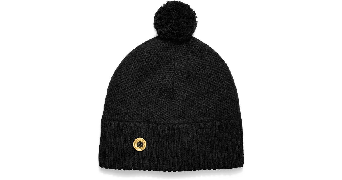 0461201164e Lyst - Tory Burch Moss Cashmere Stitched Pompom Hat in Black