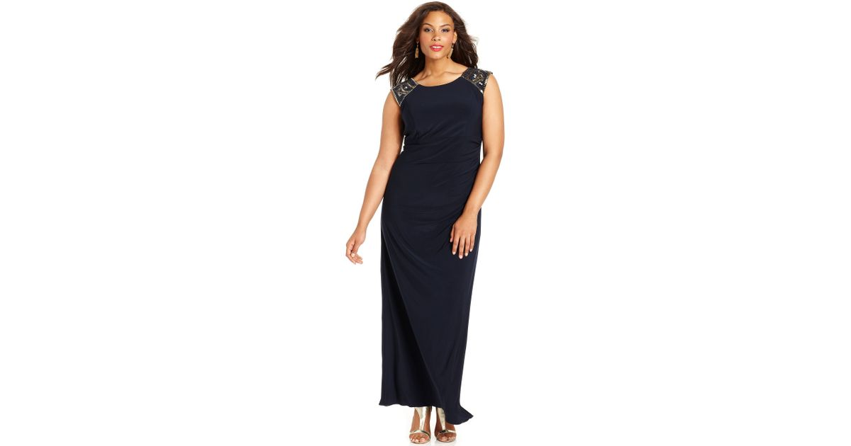 c59d25f9ea4e8 Lyst - Xscape Xscape Plus Size Dress Capsleeve Beaded Gown in Black