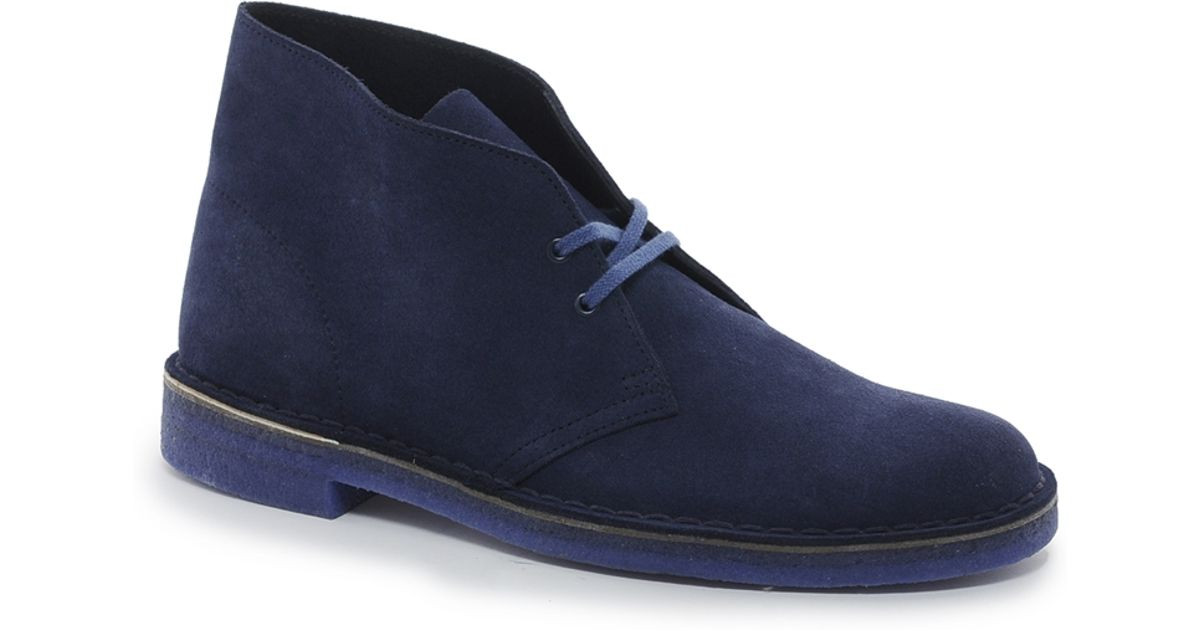 clarks originals suede desert boots in blue for