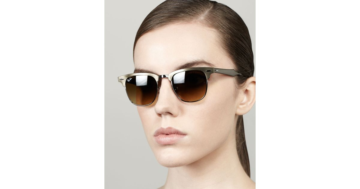 eb7ca525caa Ray-Ban - Metallic Metal Frame Clubmaster Sunglasses - Lyst