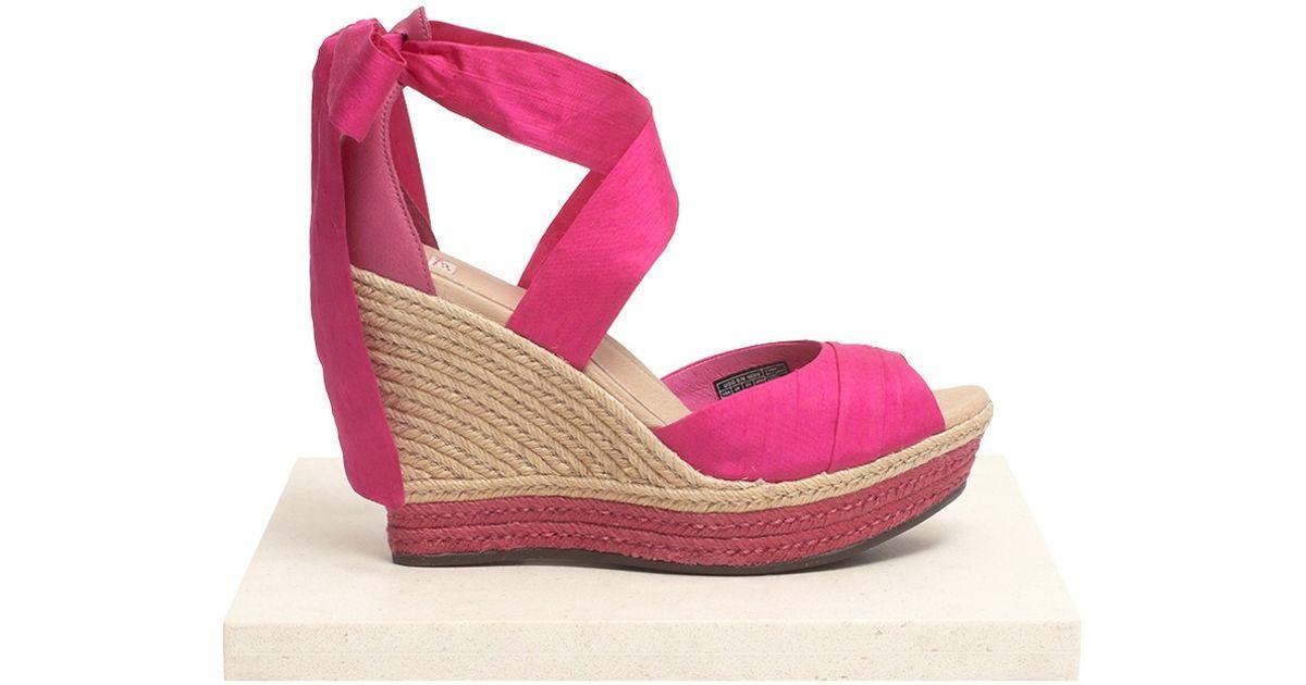 bf959b917bf Lyst - UGG Lucianna Silk Wedge Espadrilles in Pink