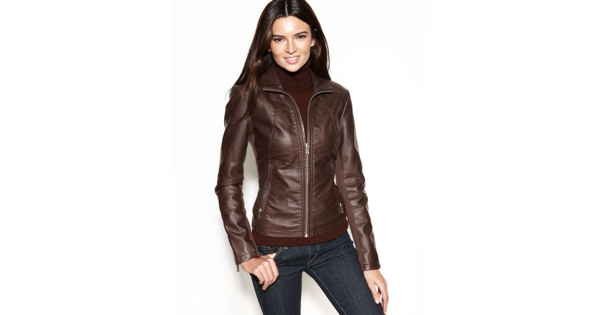 c5f91e07966 Lyst - Kenneth Cole Reaction Faux-leather Zippered-cuff Jacket in Brown