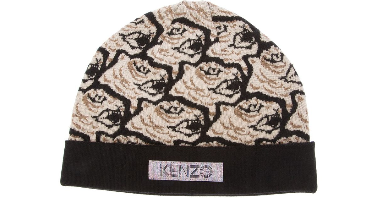 Lyst - KENZO Tiger Print Beanie Hat in Natural for Men b27967050e8