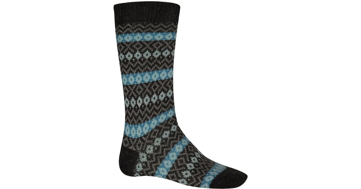 Pantherella Charcoal Fair Isle Cashmereblend Socks in Black for ...