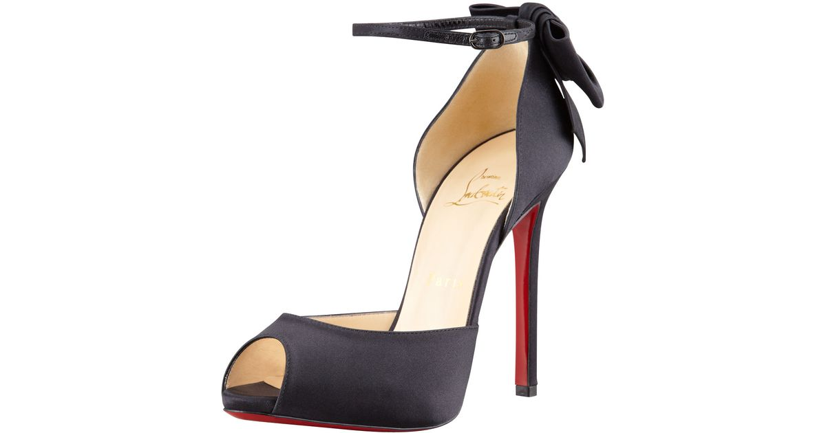 a12b93656ad4 Lyst - Christian Louboutin Dos Noeud Satin Backbow Dorsay Red Sole Pump in  Black
