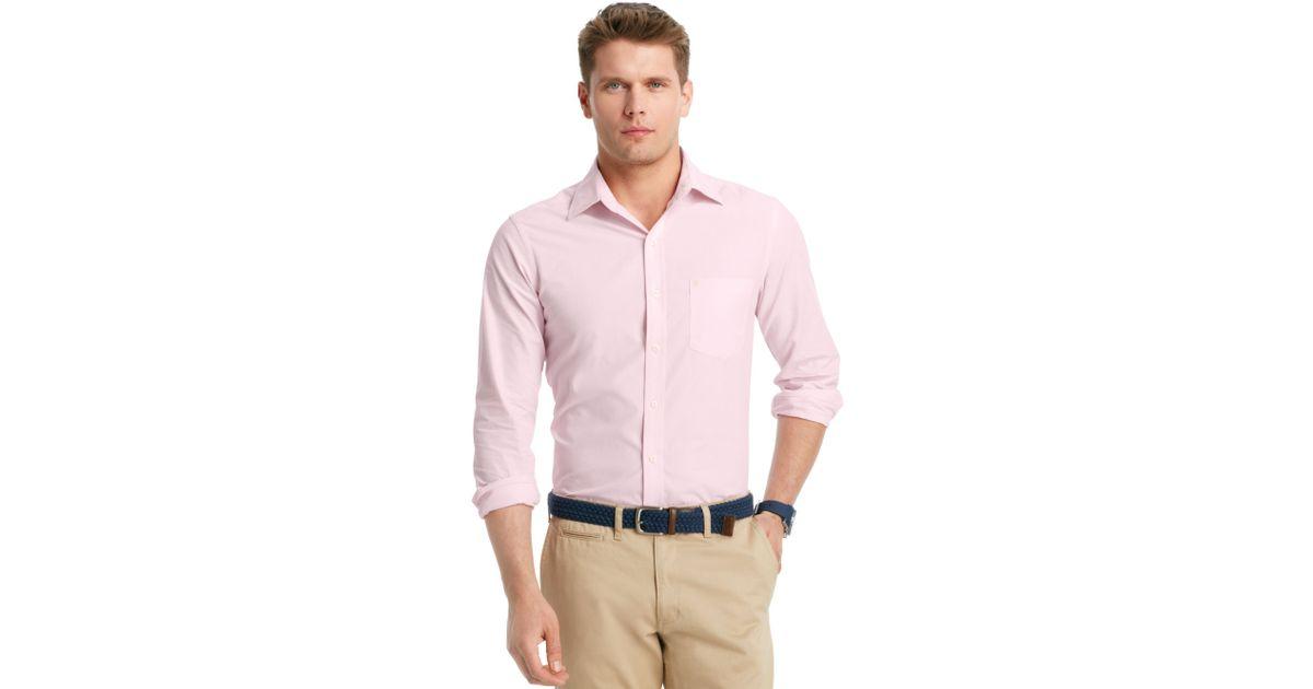Izod Shirt Slimfit Striped Shirt in Pink for Men | Lyst