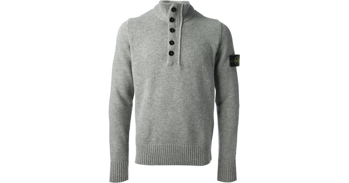 Stone island Button Down Sweater in Gray for Men | Lyst