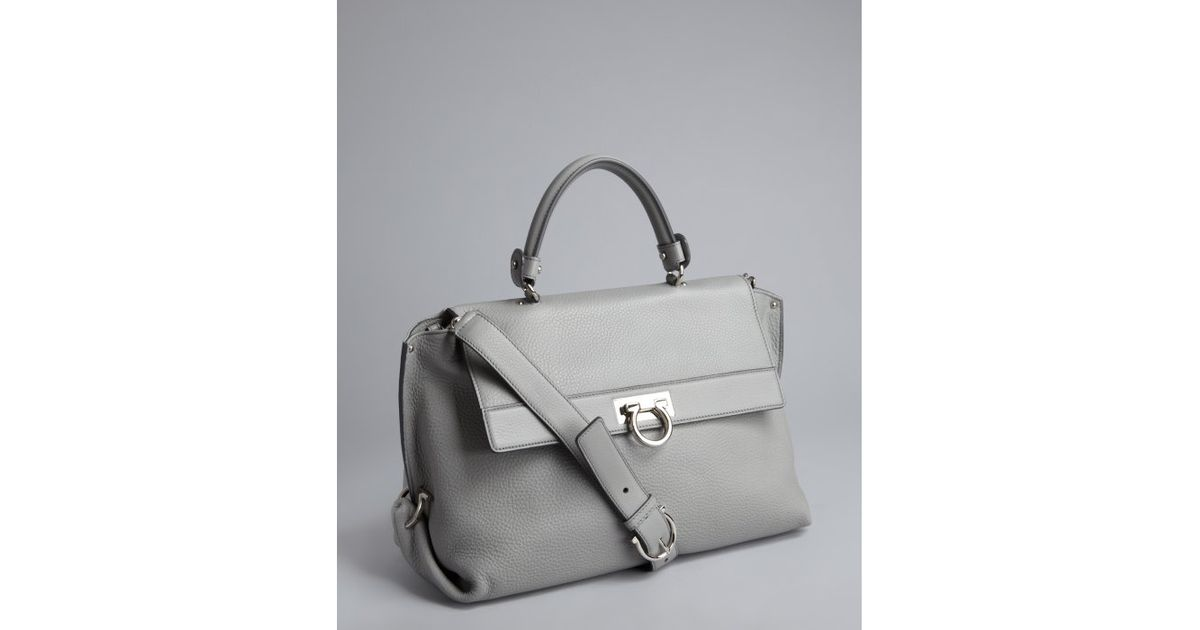 8d9548d0000f Ferragamo Grey Grained Leather Convertible Doctors Bag in Gray - Lyst