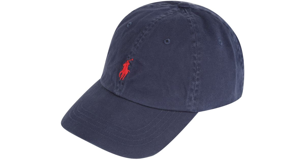 Lyst - Polo Ralph Lauren Navy and Red Logo Cap in Blue for Men 744630be81d