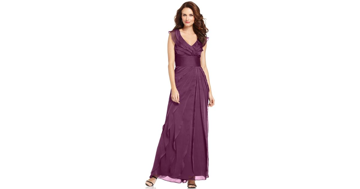 Adrianna papell Tiered Evening Dress in Purple | Lyst