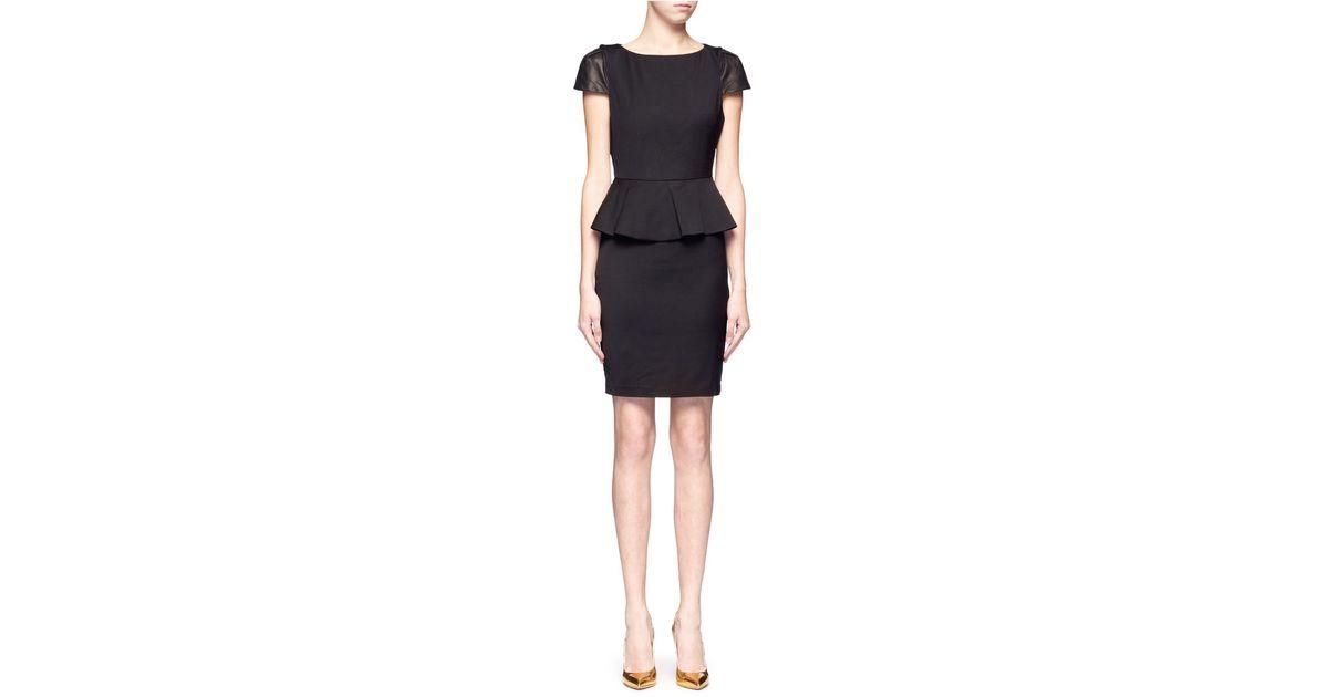 Lyst Alice Olivia Caralie Leather Cap Sleeve Peplum Dress In Black