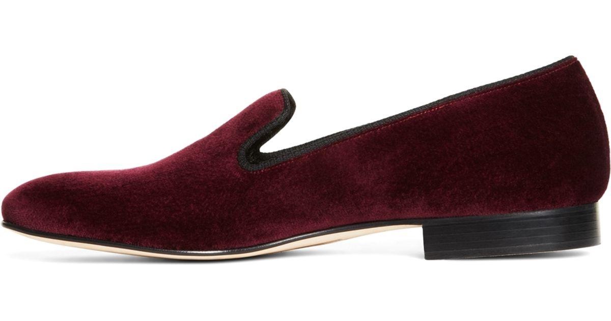 Burgundy Velvet Shoes Mens