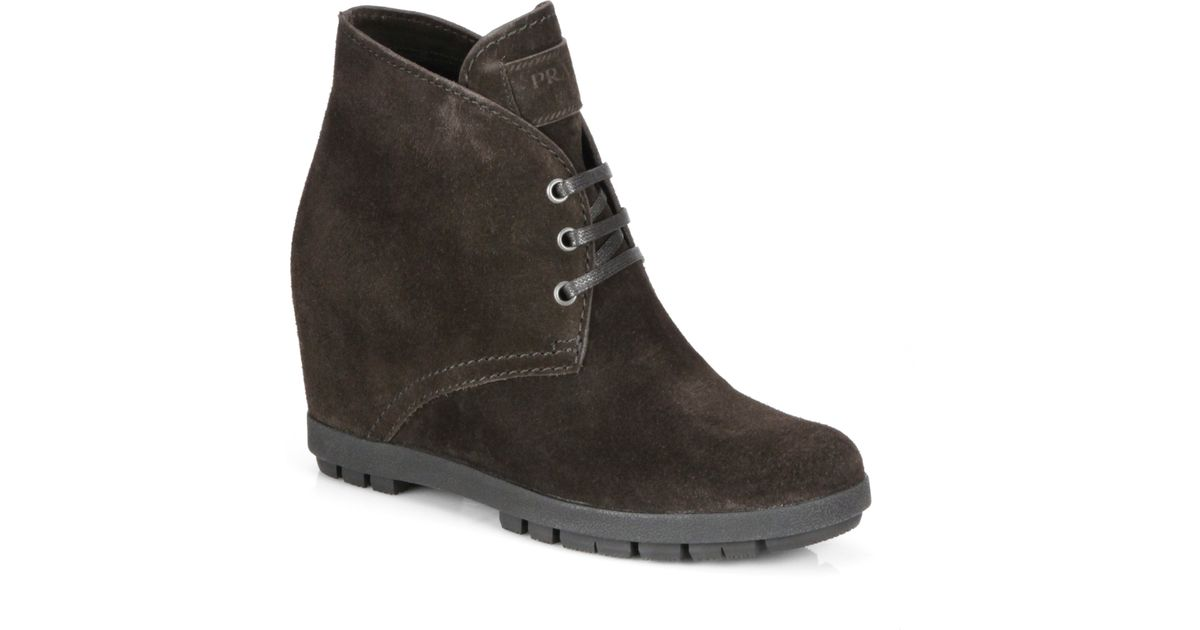 dec59829a95 Prada - Brown Suede Laceup Wedge Ankle Boots - Lyst