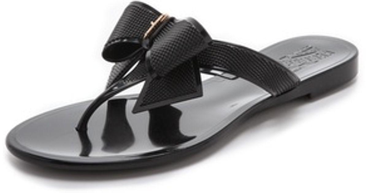 e9e5f2b5986fe7 Lyst - Ferragamo Balli Jelly Flip Flops in Black