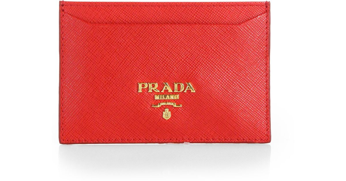 0b1928f0f048 ... new style lyst prada saffiano credit card holder in red 917a3 8067d