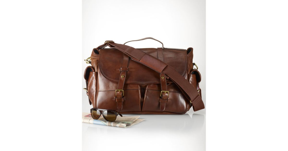 61419ed5fc ... inexpensive lyst ralph lauren leather messenger bag in brown for men  8f910 24174