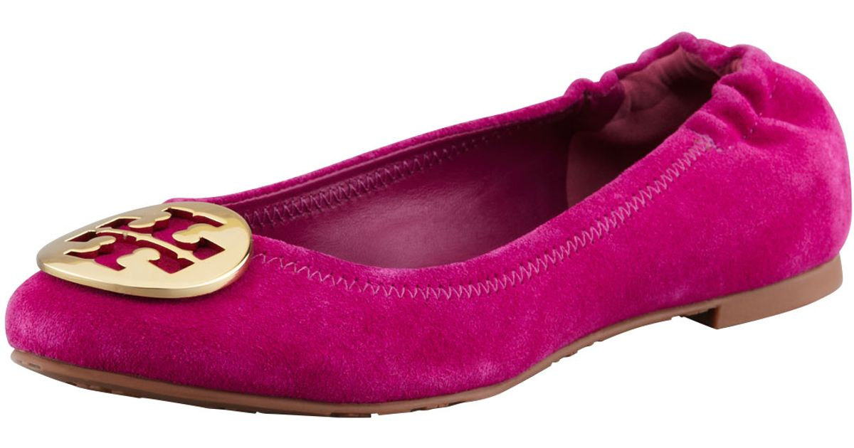 4908d83ece31 ... purchase lyst tory burch reva suede logo ballerina flat party fuchsia  in pink 46948 6c80d