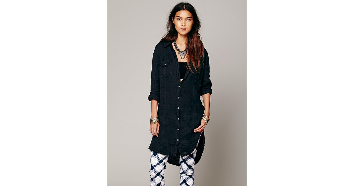 470fbb08 Free People Solid Double Cloth Button Down Tunic in Black - Lyst