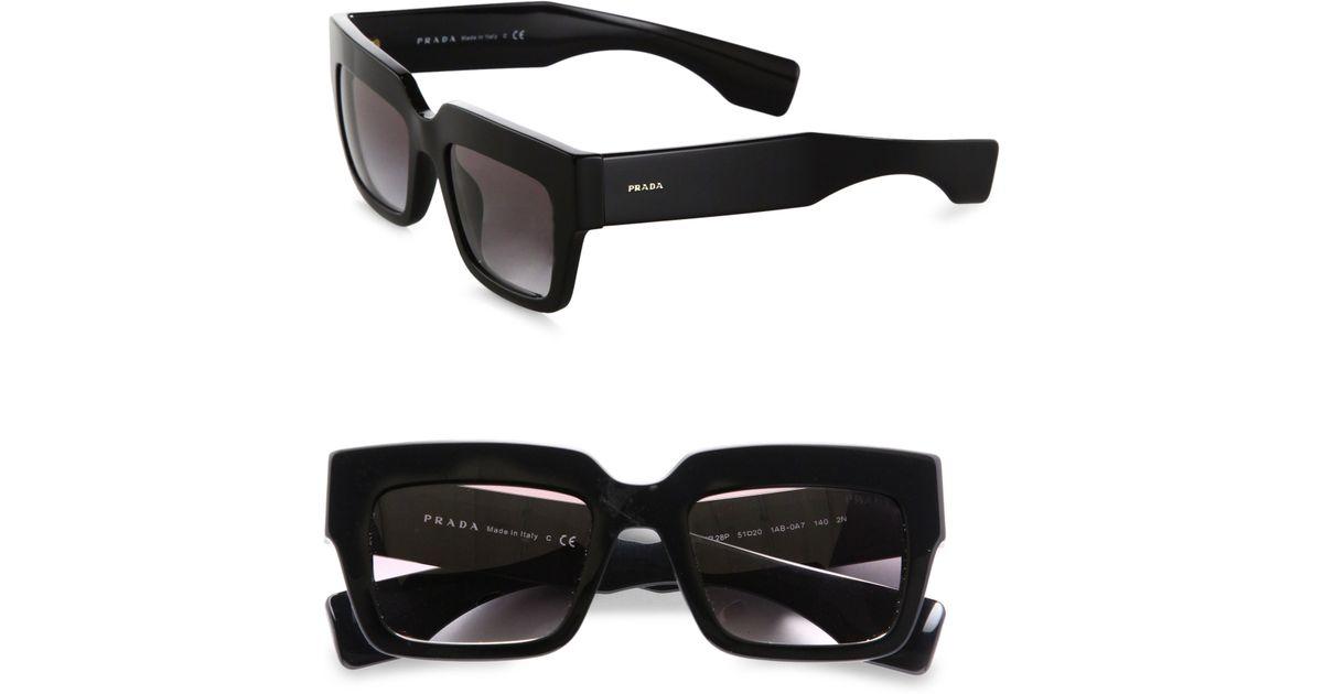 a5fddcbd555fc Prada Thick Square Sunglasses in Black - Lyst