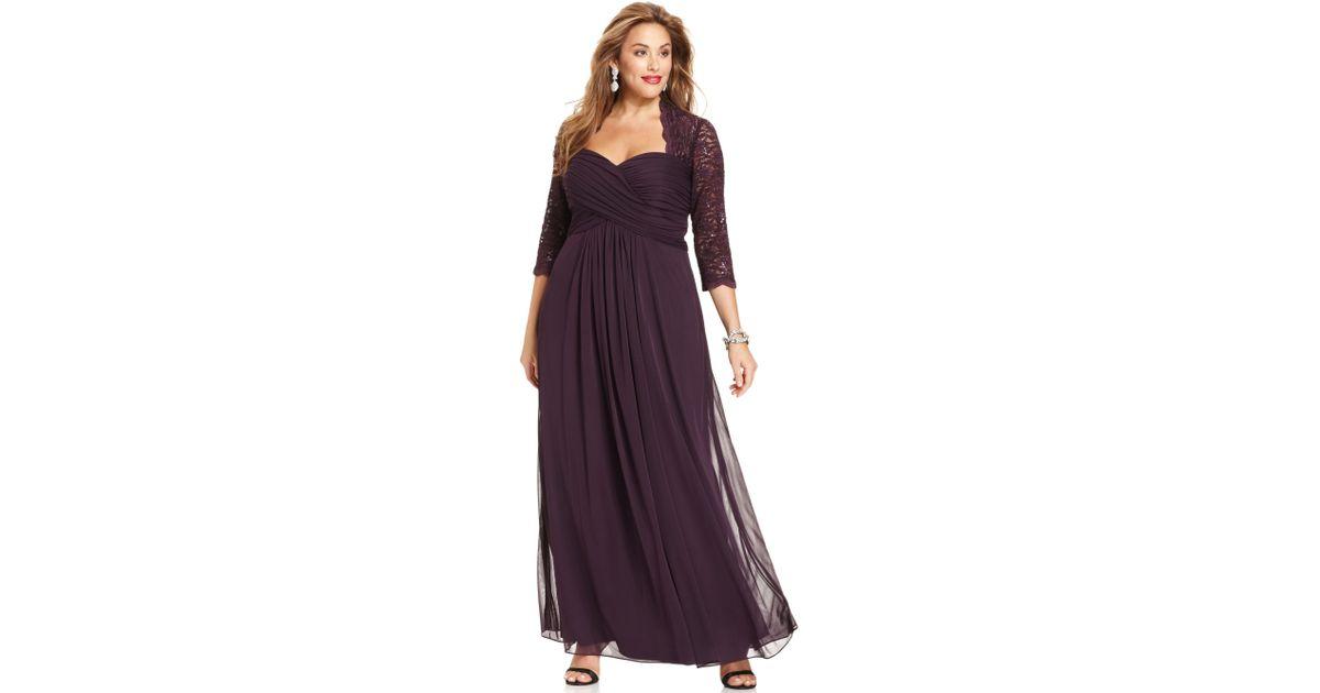 Lyst Xscape Xscape Plus Size Dress Threequartersleeve Glitter Lace