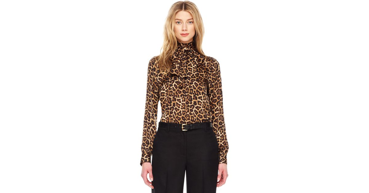 453267fa835e Michael Kors Leopard-print Bow Blouse - Lyst