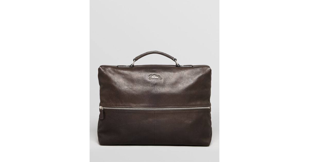 d0f025810c72 Lyst - Longchamp Parisis Leather Brief in Black for Men