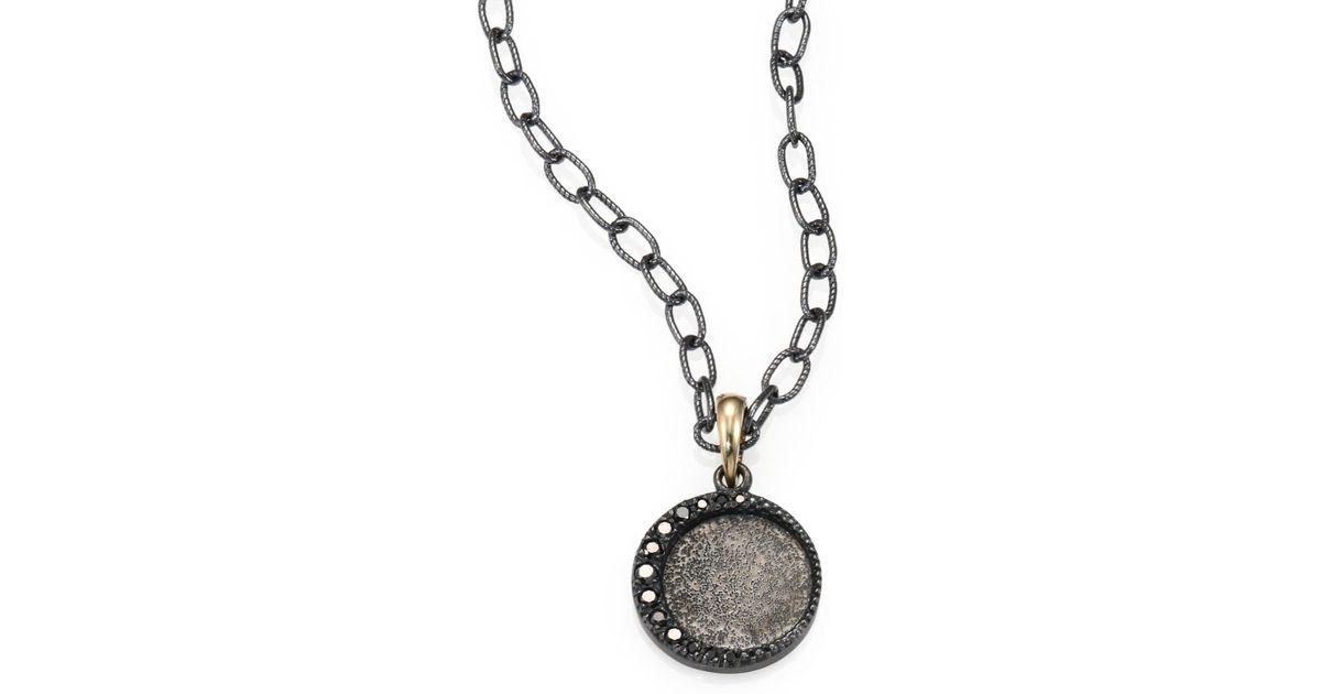 Lyst mizuki black diamond oxidized sterling silver and 14k lyst mizuki black diamond oxidized sterling silver and 14k yellow gold necklace in metallic aloadofball Images