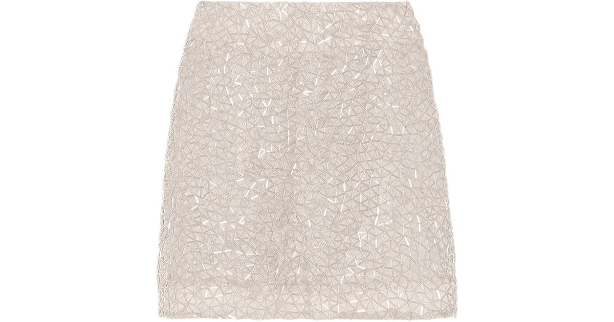76a2e22a83 Theyskens' Theory Beaded Organza Mini Skirt in White - Lyst