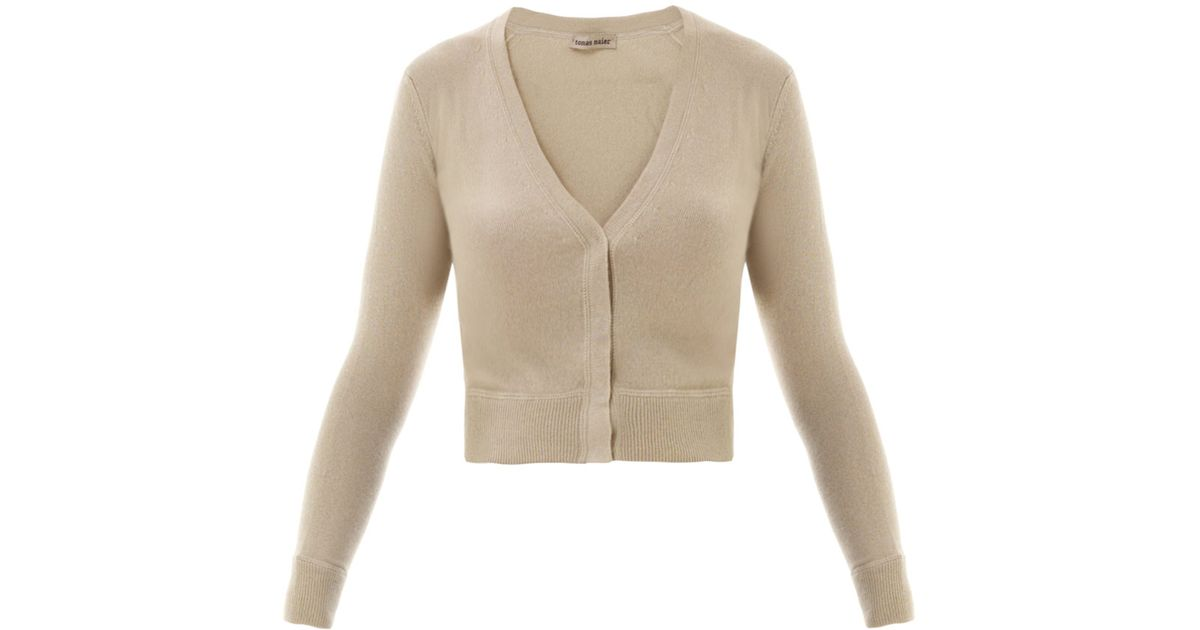 Lyst - Tomas Maier Cropped Cashmere Cardigan in Natural 9fee58999
