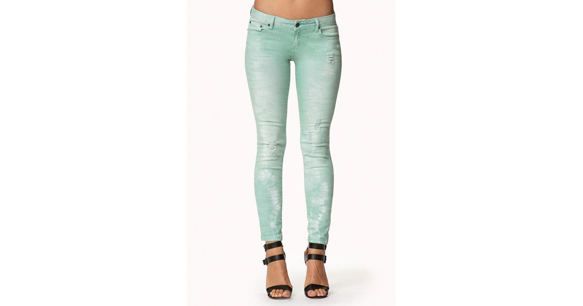 Forever 21 Distressed Colored Skinny Jeans in Green   Lyst